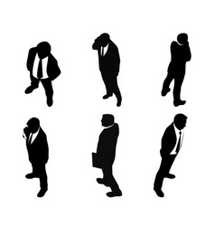 six silhouettes of businessmen vector image