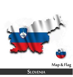 slovenia map and flag waving textile design vector image