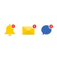 Social media notification set icons vector