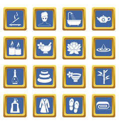 Spa treatments icons set blue vector