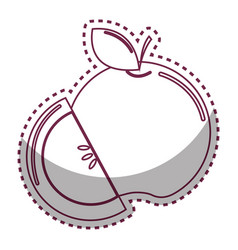 Sticker silhouette apple fruit icon stock vector