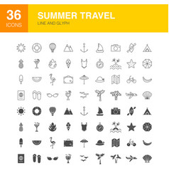 Summer travel line web glyph icons vector
