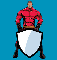 superhero holding shield 2 vector image