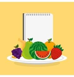 tropical fruits fresh menu vector image