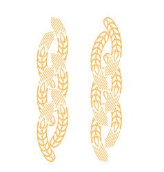 Twisted ear of wheat border - bakery frame design vector