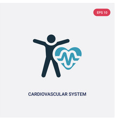 Two color cardiovascular system icon from sauna vector