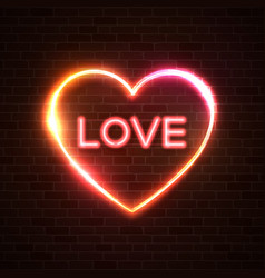 valentines day neon sign word love on brick wall vector image