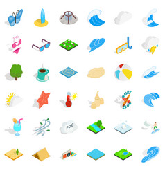 Water in beach icons set isometric style vector