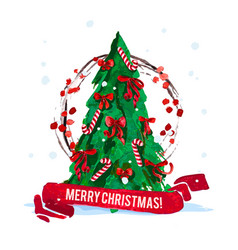 watercolor artistic christmas tree isolated vector image