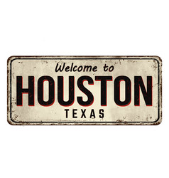 Welcome to houston vintage rusty metal sign vector