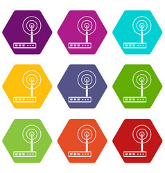 wifi router icon set color hexahedron vector image