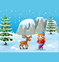 winter background with girl and deer vector image