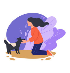 woman cuddling stray dog outdoors kind female vector image