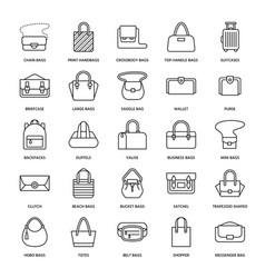 Women handbags flat line icons bags types vector