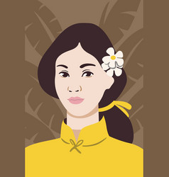 young japanese woman face portrait vector image