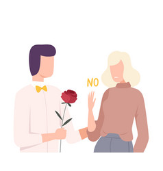 young woman rejecting feelings loving man male vector image