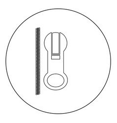 Zipper icon black color in circle vector