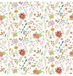 Bohemian hand drawn flowers seamless pattern vector image vector image