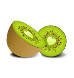 kiwi fruit heart vector image vector image