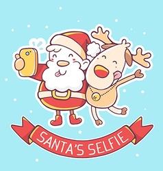 santa claus and reindeer make selfie with vector image