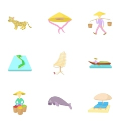 Tourism in Vietnam icons set cartoon style vector image vector image