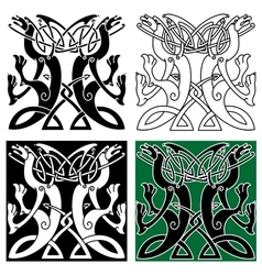 Tribal dragons ornament with celtic knot pattern vector image vector image
