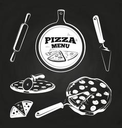 vintage pizza elements on chalkboard vector image