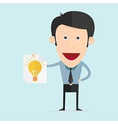 cartoon with light bulb flat design vector image vector image