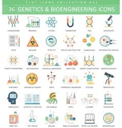 Genetics and bioengineering flat icon set vector image