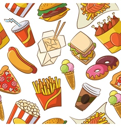 Junk food seamless pattern vector image