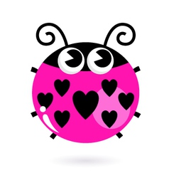 Love pink Ladybug with hearts isolated on white vector image vector image
