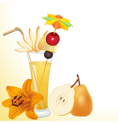 pear juice in a glass with a flower vector image vector image