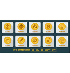 set of different icons cryptocurrency vector image vector image