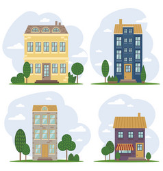 traditional european architecture old town houses vector image vector image