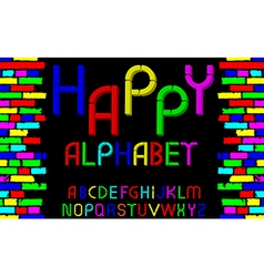 tridimensional decorative font Happy alphabet vector image vector image