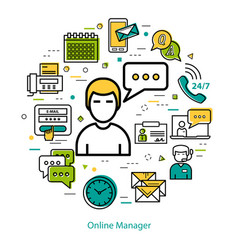 online manager - line round concept vector image