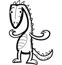 cartoon lizard or dinosaur coloring page vector image