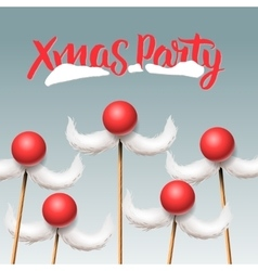 Christmas Party card Santa moustache vector image