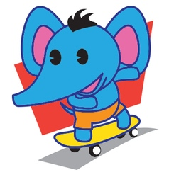Elephant Skateboard vector image vector image