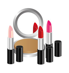 face powder with lipsticks icon vector image vector image