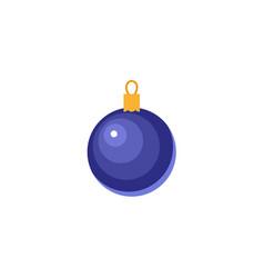 flat style shiny blue ball christmas icon vector image