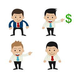 Set of funny cartoon office businessman vector