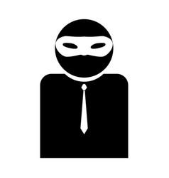 The man incognito in a mask the black color icon vector