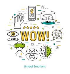 unreal emotions - line art concept vector image