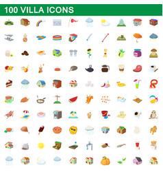 100 villa icons set cartoon style vector