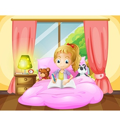A girl writing inside her room vector