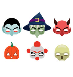 a set of mask for halloween vector image