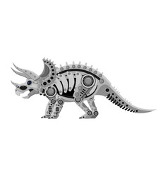 a triceratops robot in metallic steampunk style vector image