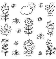 Art of spring with hand draw vector