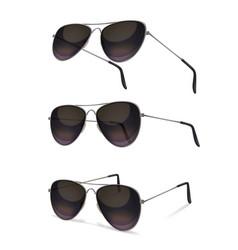 Aviator sunglasses realistic set vector